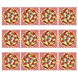 Kicko Make a Pizza Sticker Scene - Set of 12 Round Dough Stickers for Birthday Treat, Goody Bags, School Activity, Group Projects, Room Decor, Arts and Crafts