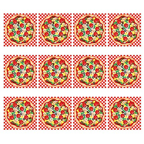 - Kicko Make a Pizza Sticker Scene - Set of 12 Round Dough Stickers for Birthday Treat, Goody Bags, School Activity, Group Projects, Room Decor, Arts and Crafts