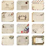 Taloyer Mini Cute Vintage Classic Paper Envelope Retro Wax Envelope Invitation Letters for Vintage Wax Seal Stamp (12Pcs)