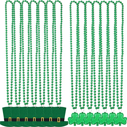 Boao 14 Pieces St. Patrick's Day Shamrock Clover Green Bead Necklace and Hat Green Bead Necklace for Festival Party Decoration