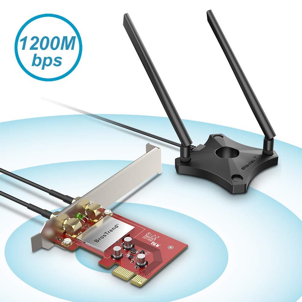 BrosTrend 1200Mbps Tarjeta de red WiFi PCIe para PC de escritorio de Windows 10 / 8.1 / 8/7, 2 X 5dBi Antenas y base de