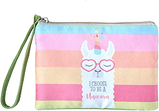 Cute Alpaca With Cactus Hand Zipper Canvas Coin Purse Wallet Make Up Bag,Cellphone Bag With Handle
