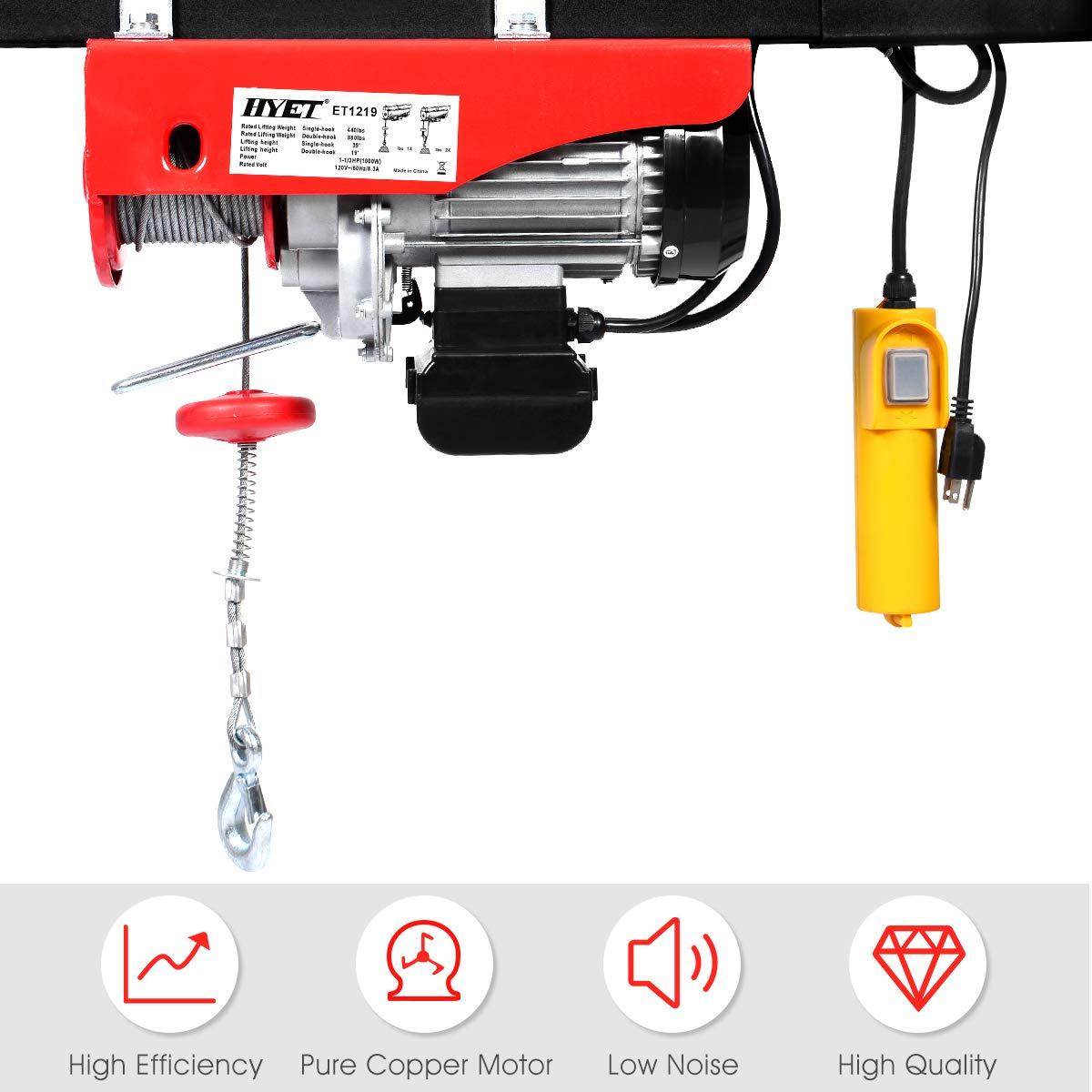 Amazon.com: Goplus Lift Electric Hoist Garage Auto Shop Electric Wire Hoist  Overhead Lift w/Remote Control (880LBS): Home Improvement