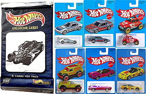 Hot Wheels Retro Blue Exclusive Car Series Classic Card 2016/17 - Heritage Style + Pack of Hobby Trading Cards Volkswagen SP2 VW, Pontiac GTO, Baja Beetle, Power Panel, 80's Corvette, Hurst Olds