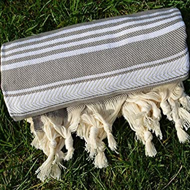 Gray Turkish Towel Peshtemal - 100% Natural Dyed Cotton - for Beach Spa Bath Swimming Pool Hammam Sauna Yoga Pilates Fitness Gym Picnic Blanket (Dandelion Textile)