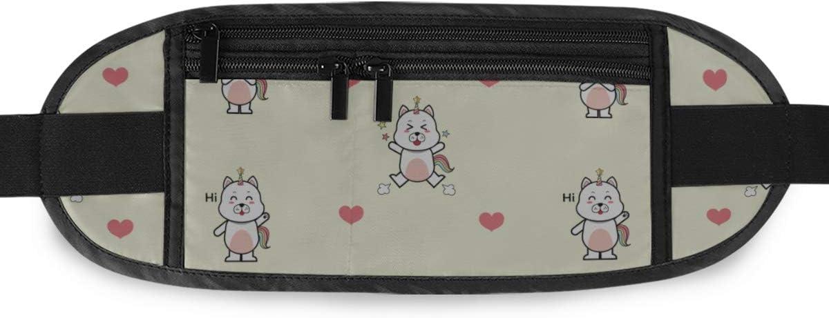 Cute Dog Cartoon Patterndogicorn Running Lumbar Pack For Travel Outdoor Sports Walking Travel Waist Pack,travel Pocket With Adjustable Belt