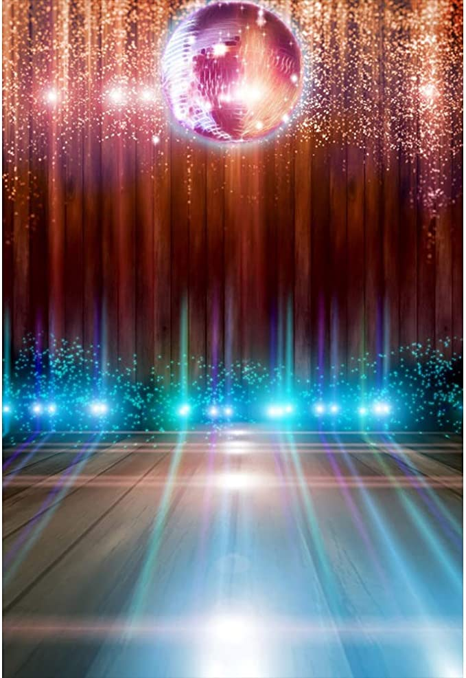 10x6.5FT Disco Party Dance Hall Nightclub Carnival Backdrop Photography Backdrop Old Record Musical Note Stave 70s 80s 90s Theme Personal Portraits Studio Props