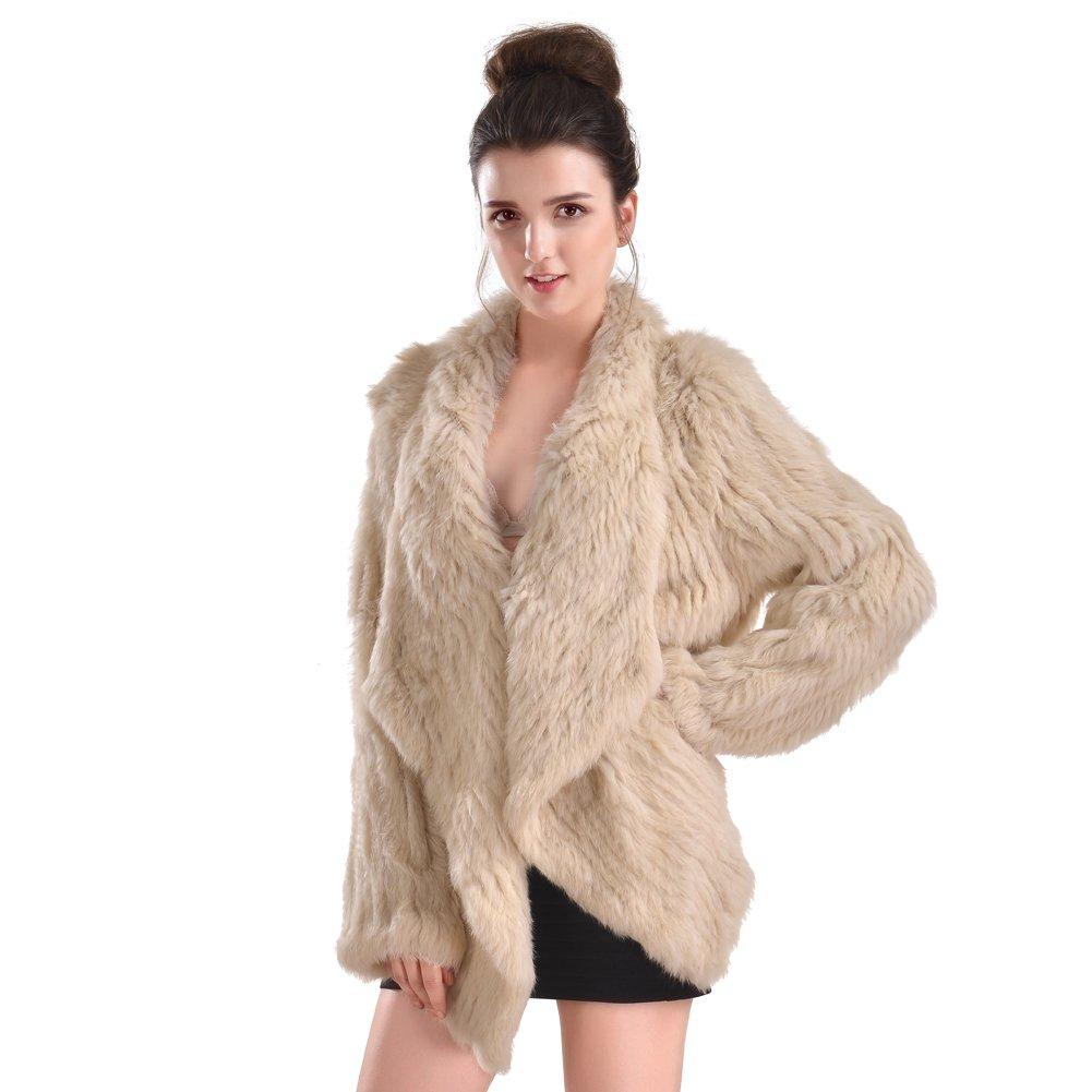 Vemolla Women's Genuine Knit Rabbit Fur Coat Jacket Outwear with Pocket