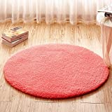 DIDIDD Circular Rug Basket Lift Children Bedroom Bed Living Room Study Desk Anti-Slip Pad,Pink,1.6 Dia.