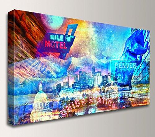 Denver Skyline Artwork - Canvas Wall Art Decor -