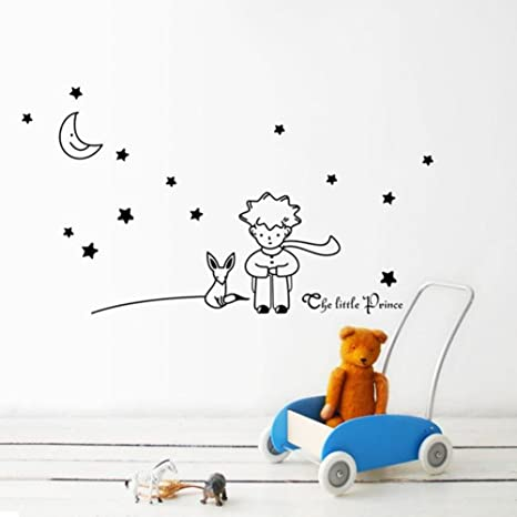 Stickers Muraux Amovible Internet Le Petit Prince Autocollant Mural étoiles Lune Décor à La Maison Noir