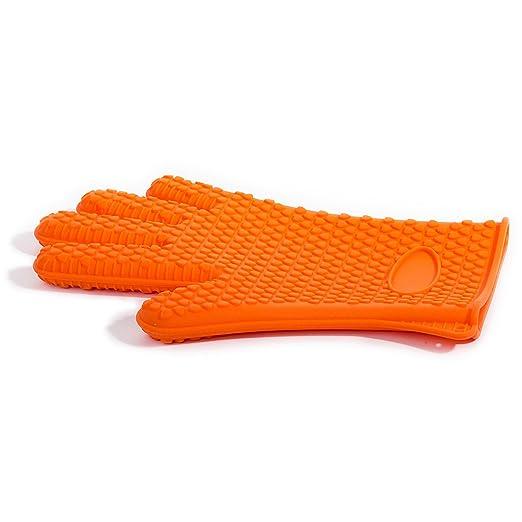Navisha Heat Resistant Textured Non-Slip Silicone Hand Gloves With Five Fingers (Random Colour)