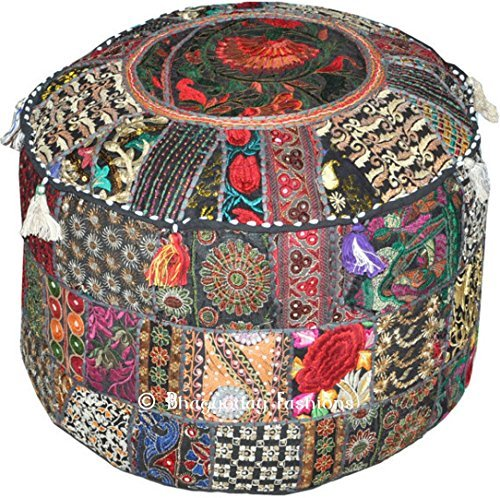 Indian Patchwork Pouf Cover Indian Living Room Pouf, Decorat