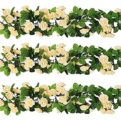 YILIYAJIA 3PCS Artificial Rose Garlands, Silk Fake Rose Flowers Green Leaves Vine for Home Hotel Office Wedding Party Garden Craft Art Décor