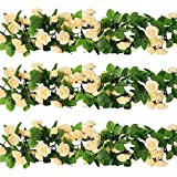 YILIYAJIA 3PCS Artificial Rose Garlands Silk Fake Rose Flowers Green Leaves Vine for Home Hotel Office Wedding Party Garden Craft Art Decor (champagne)