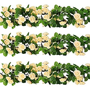 YILIYAJIA 3PCS Artificial Rose Garlands Silk Fake Rose Flowers Green Leaves Vine for Home Hotel Office Wedding Party Garden Craft Art Decor 4