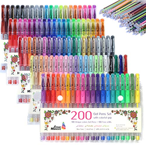 Cedar Markers Gel Pens. 200 Set 100 Pens Plus 100 Refills. Color Pens with Grip. Neon, Glitter, Metallic, Pastel Colors No Duplicates. Drawing Pens for Bullet Journal.