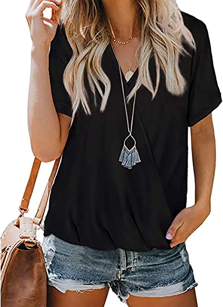 V Neck Wrap T Shirt for Women Short Sleeve Loose Blouse Casual Tops Summer Tee