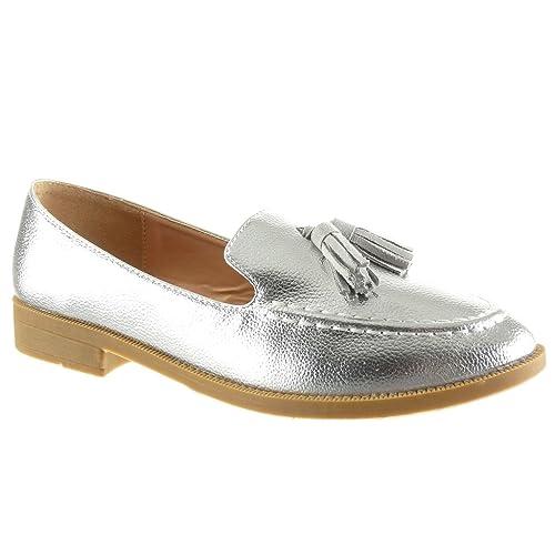 Angkorly - Zapatillas de Moda Mocasines Slip-on Mujer granulado Fleco Talón Tacón Ancho 2 CM: Amazon.es: Zapatos y complementos