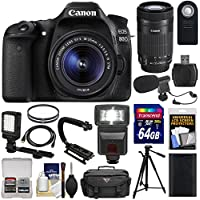 Canon EOS 80D Wi-Fi Digital SLR Camera & 18-55mm IS STM + 55-250mm IS STM Lens + 64GB + Battery + Case + Tripod + Flash + LED + Mic + Stabilizer Kit At A Glance Review Image