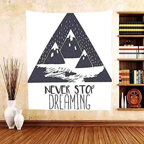 Gzhihine Custom tapestry Quotes Decor Tapestry Grungy Vintage Motivational Snowy Mountain Tops Illustration with Ice Blizzard Effects for Bedroom Living Room Dorm Grey and - Blizzard Disney Map Beach