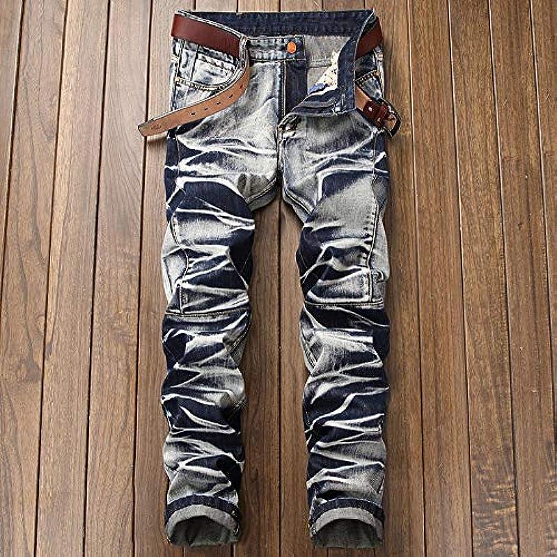 Geili dżinsy męskie długie spodnie dżinsy vintage Used Look bielizna wodna denim spodnie męskie duże rozmiary Slim Fit Straight Jeans Basic spodnie rekreacyjne z zamkiem błyskawicznym spodni