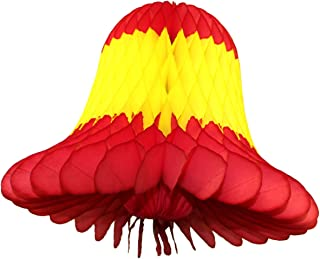 product image for Devra Party 3-Pack 9 Inch Honeycomb Tissue Paper Bell (Red/Yellow/Red)