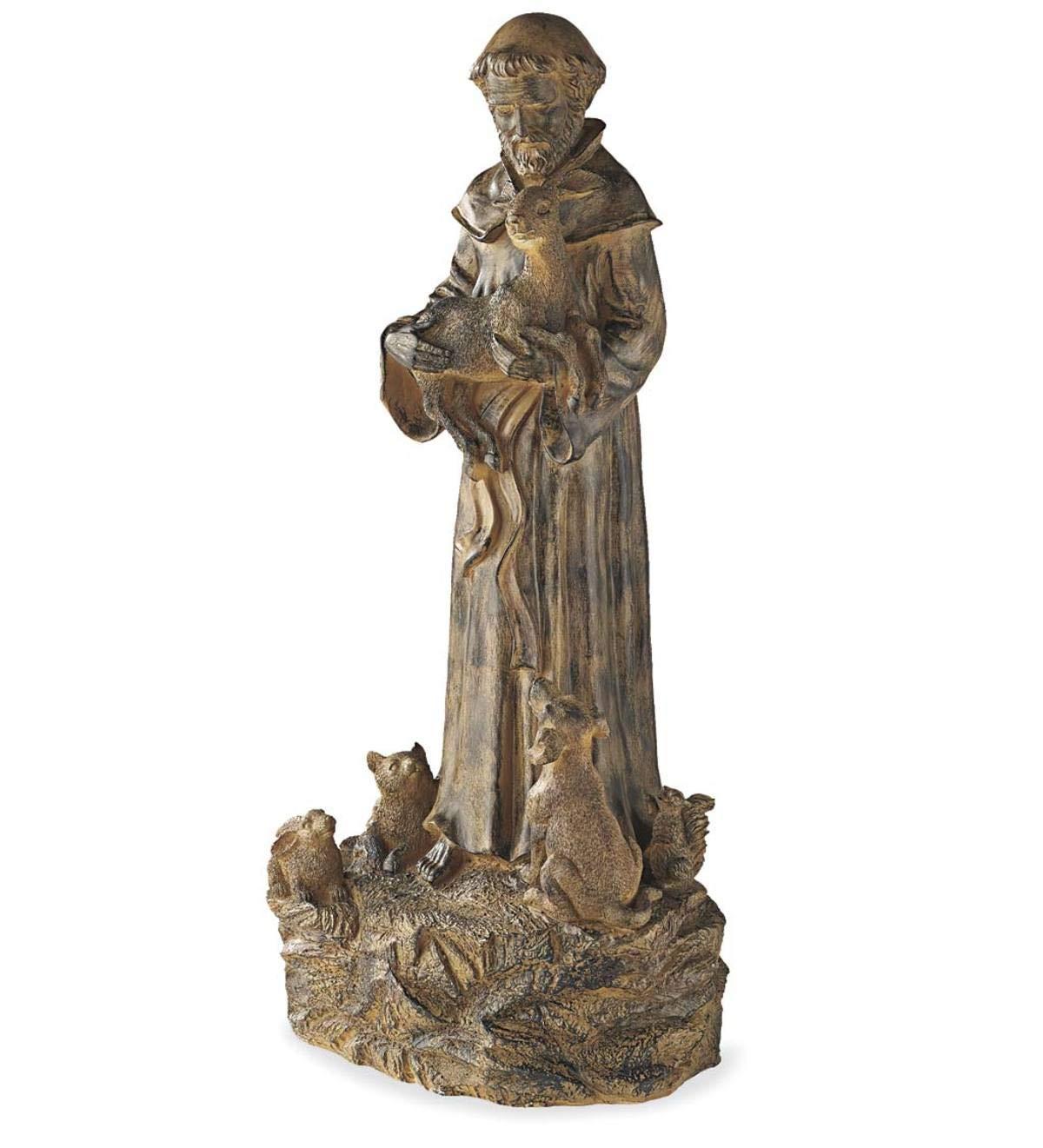 Wind Weather Resin St Francis Statue Garden Sculptures Indoor