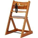 ベビーチェア 木製椅子 ハイチェア 14段階調節可能 安全ベルト付き 幅45×奥行50.5×高さ78cm チェリーブラウン