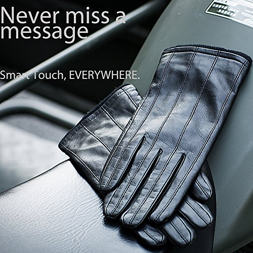 YISEVEN Men's Genuine Nappa Leather Lined Winter Gloves -Black/Touchscreen,Black,11'' by YISEVEN (Image #5)