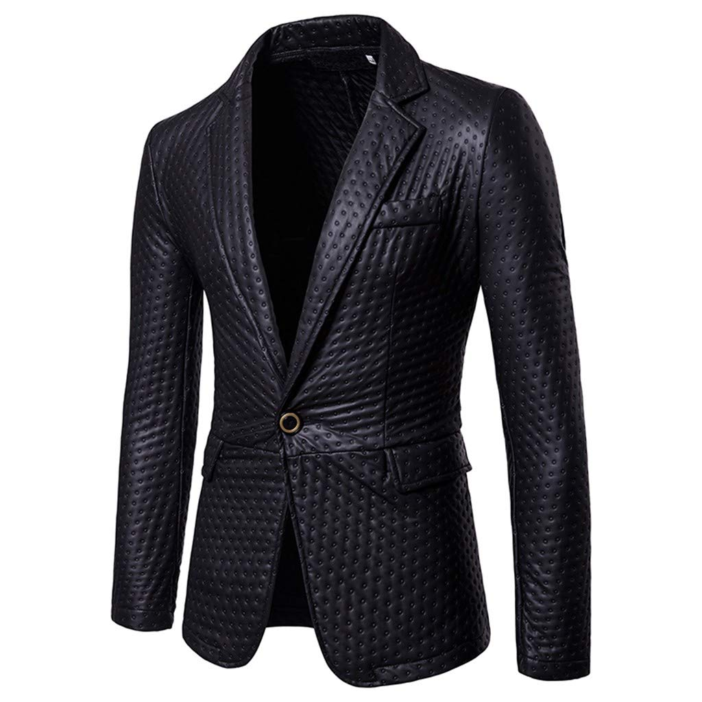 Men's Long Sleeve Suit Coat,Clearance!! Males Casual Winter Slim Fit Solid Lightweight Jacket Self-Cultivation and Bright-Faced by cobcob men's Coat
