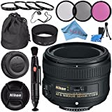 Nikon AF-S NIKKOR 50mm f/1.8G Lens 2199 + 58mm 3pc Filter Kit + 58mm Macro Close Up Kit + Lens Pen Cleaner + Fibercloth + Lens Capkeeper + Lens Cleaning Kit Bundle