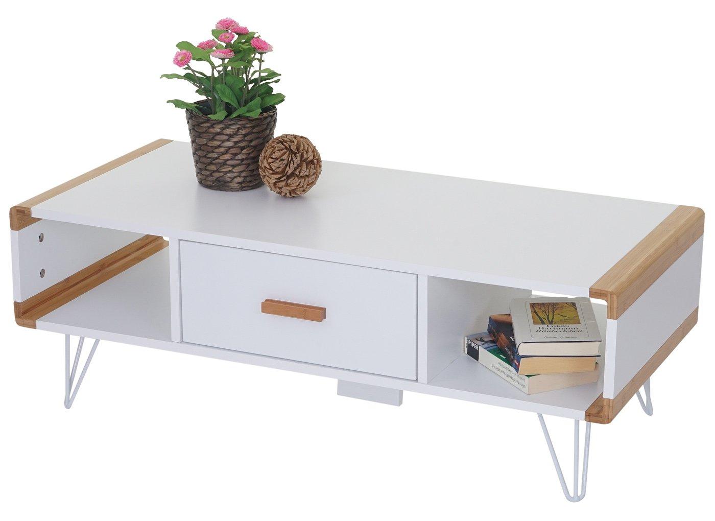 120x50x45,5cm Blanc Table Basse de t/él/évision avec Bambou Mendler Rack TV Toledo