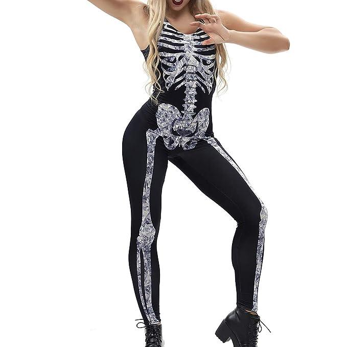 Mxssi Sexy Halloween Cristal Mono Esqueleto gótico Fiesta de Halloween  Cosplay Disfraces Body 3D Skull Bone Mujer Mameluco sin Mangas  Amazon.es   Ropa y ... cd19b0a1cdb3