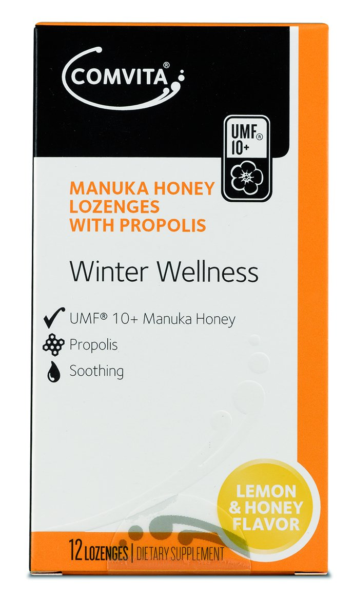 Comvita Manuka Honey Lozenges, Natural Health Supplement, Lemon & Honey, 12 Ct