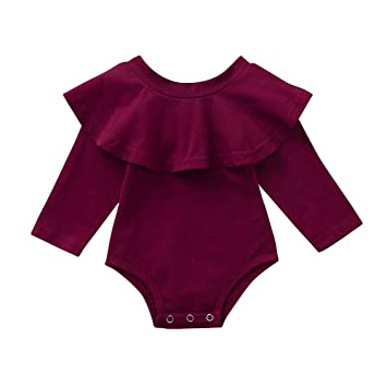 35ac08ddeb6f Amazon.com  Infant Baby Girl Fall Winter Ruffle Romper Long Sleeve ...