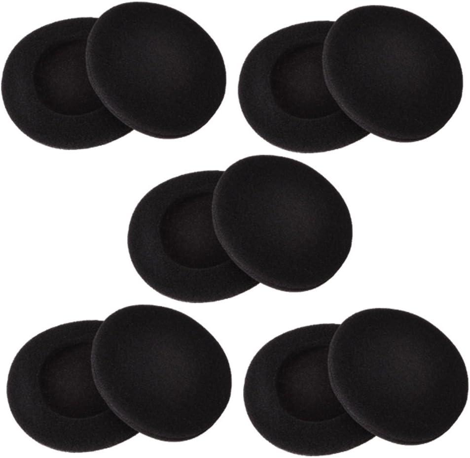 2 Pulgadas Almohadilla Auricular Cojines Auriculares para Sony Philips Auriculares, Negro, 5 Pares