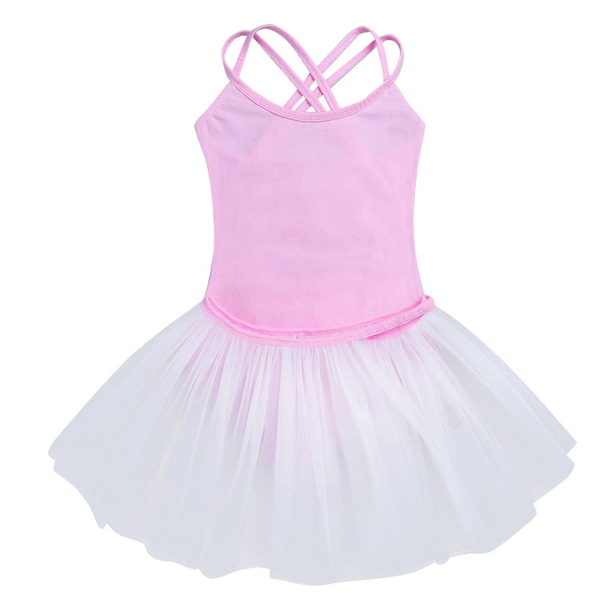 Pink&white Freebily Girls Leotard with Tutu Skirt Ballet Dance Dress 2pcs for Gymnastics Dancing Activewear