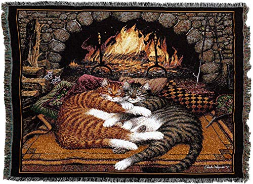 Pure Country Weavers - All Burned Out Cat by Charles Wysocki Woven Tapestry Blanket with Fringe Cotton 72x54 Cotton USA