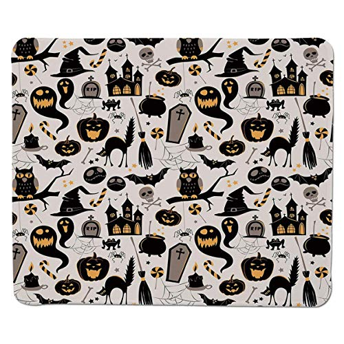 - SCOCICI Gaming Locking Mouse Pad,Halloween Cartoon Jack o Lantern Tombstone Skulls and Bones Decorative Customized Rectangle Non-Slip Rubber Mousepad Gaming Mouse Pad 11.8