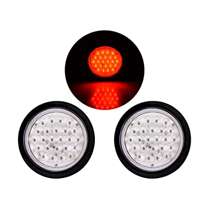 24 Led Round Truck Trailer Ute Utv Stop Tail Brake Reverse Light Red Light Clear Lens 2x