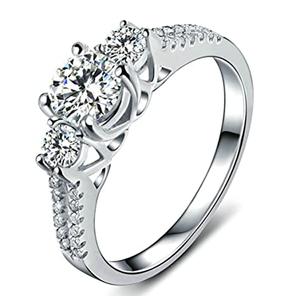 60d6298ab Amazon.com : Scott ALlah Design - Size 8 - White Sapphire Lady's 10K White  Gold Filled Jewellry Wedding Ring Three Stone Engagement Ring Style :  Everything ...