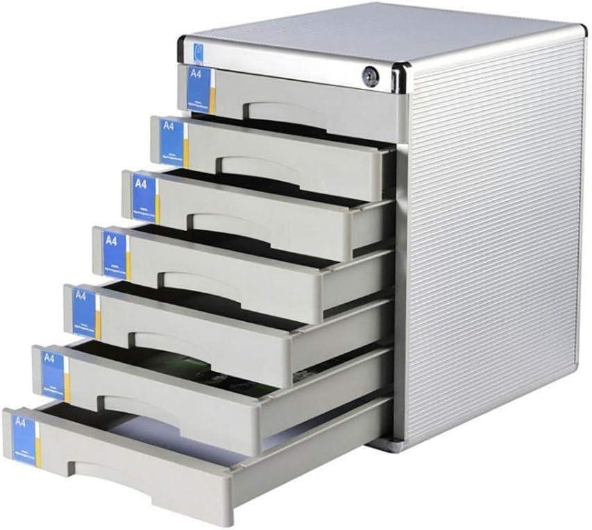 ファイルキャビネット デスクトップ内閣複数の引き出しH300xW360xD450mmアルミ合金 オフィス用品 (Size : Seven floors)