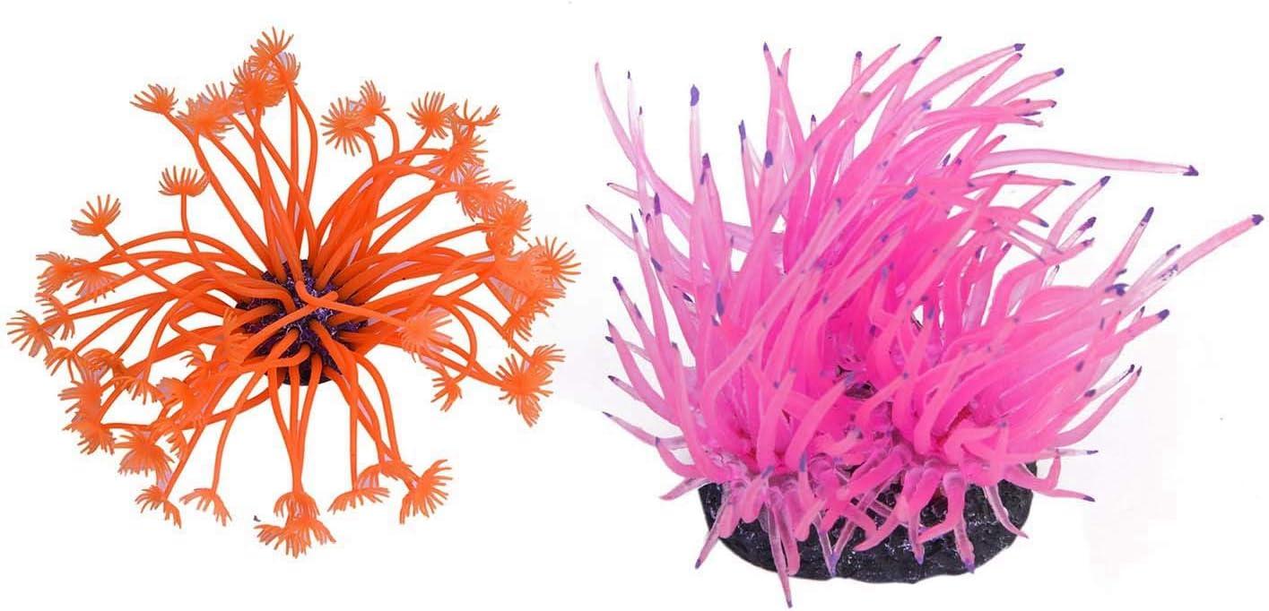 Nrpfell 2 Pcs Artificial Coral Plastic Deco Aquarium 4cm Orange /& 8cm Pink