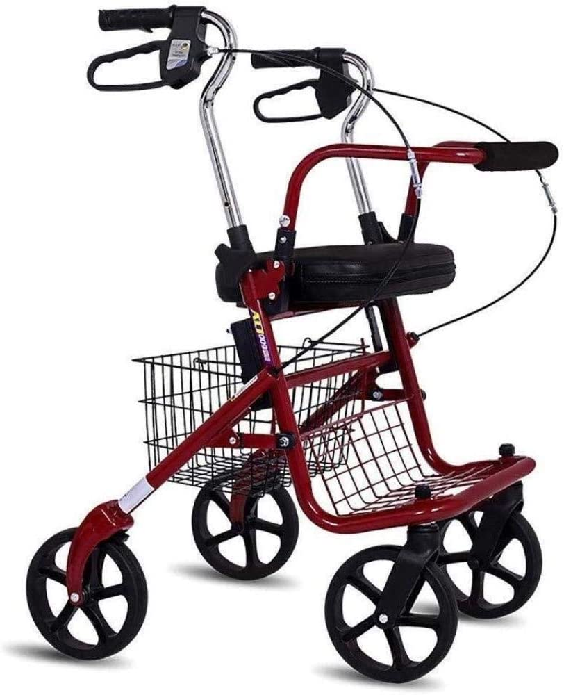 XCY Caminar Ayuda Médica Instrumentos de Altura Ajustable Balanceo Walker con Seniors Silla Walking Estabilizador con Cuatro Ruedas para Ancianos Discapacitados, 8 Pulgadas, Llantas