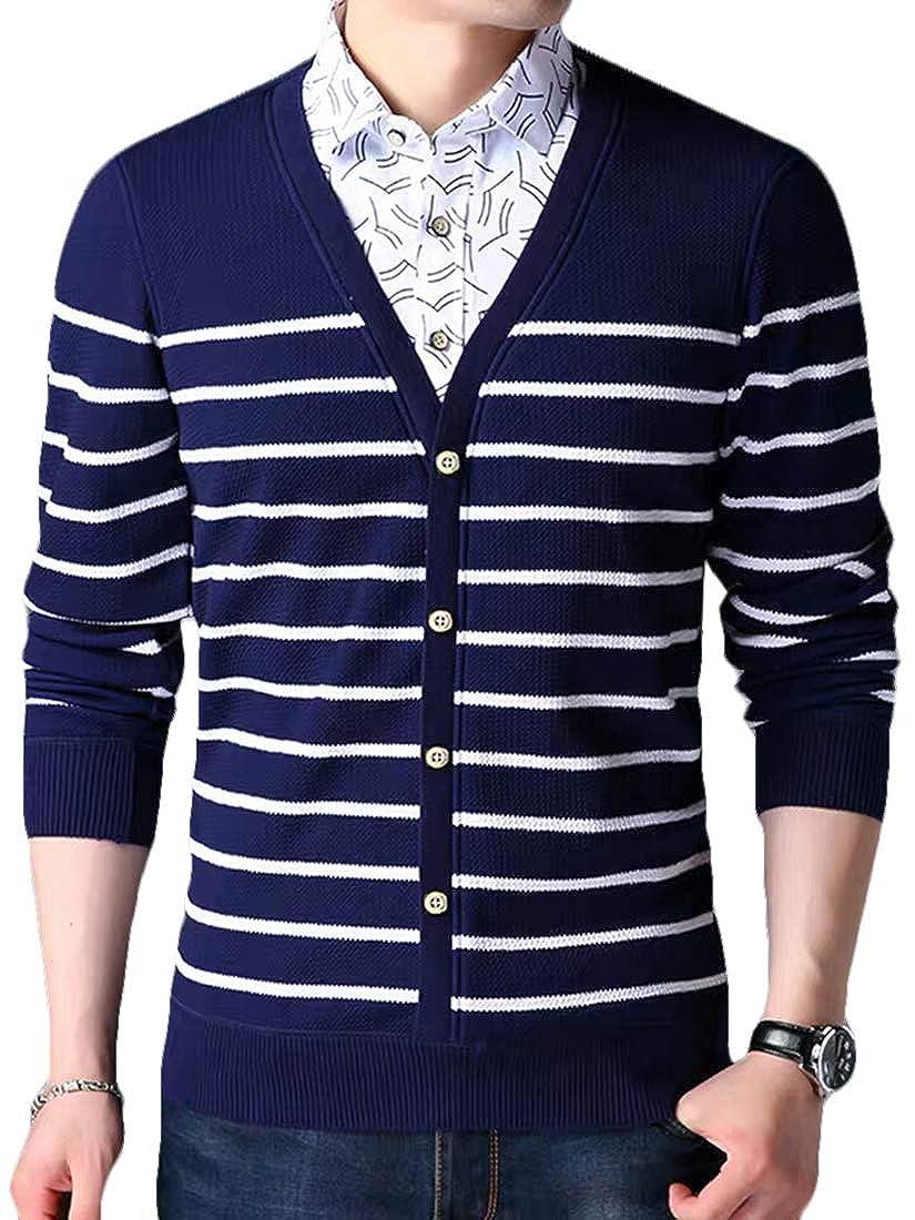 XiaoTianXinMen XTX Mens V Neck Contrast Color Long Sleeve Linen Fleece Casual Shirts
