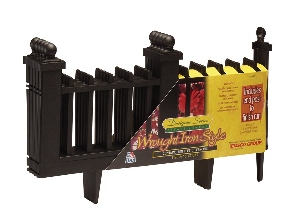 EMSCO Wrought Iron Style Border Fencing – Resin Construction – 10 Feet