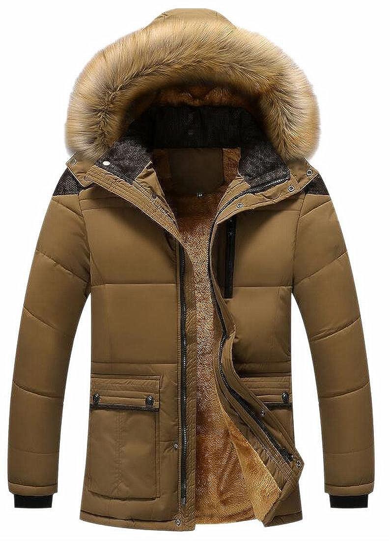 Xswsy XG Mens Faux Fur Hooded Fleece Lined Parka Coat Winter Jacket Outwear