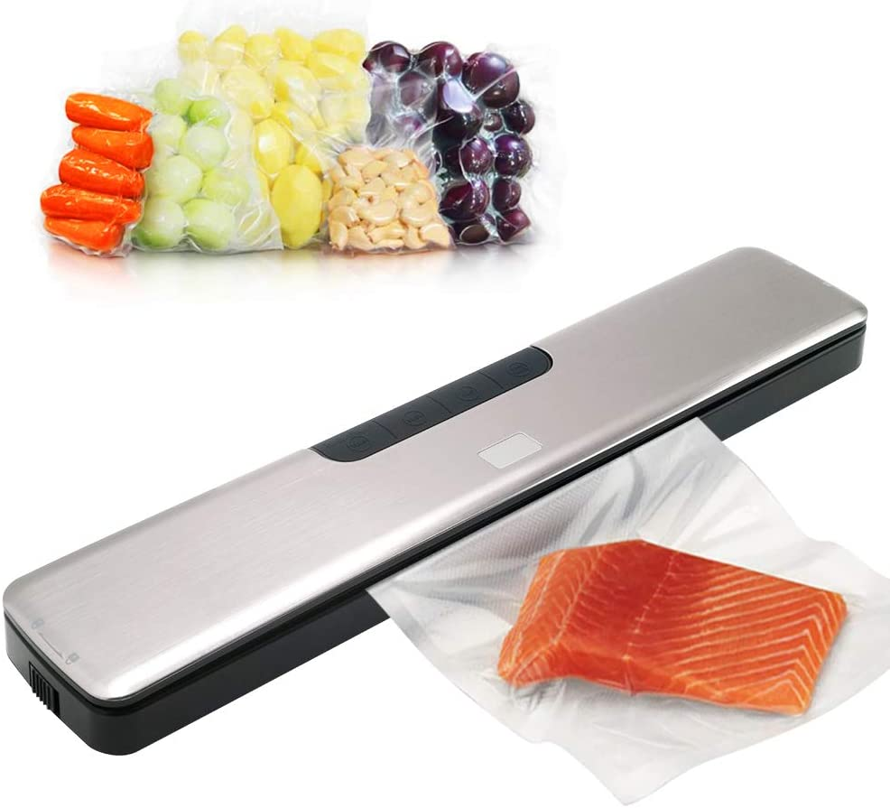 HeiYi Vacuum Sealers for Food, Automatic Stainless Steel Food Saver Vacuum Sealer Machine with Dry and Moist Food Modes and 15 Pcs Vacuum Sealer Bags for Food Preservation Storage Saver