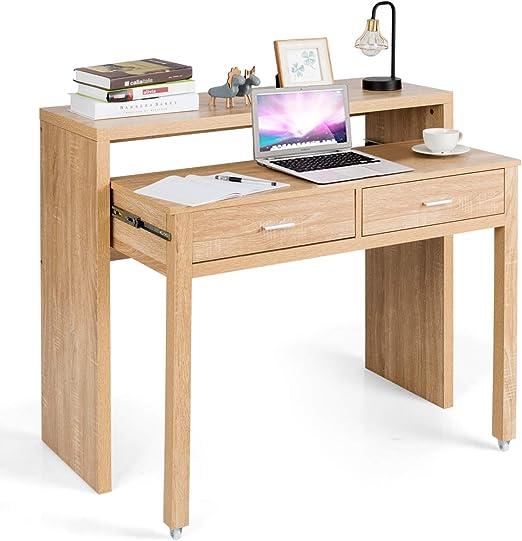 COSTWAY Escritorio Extensible con 2 Cajones Mesa para Ordenador ...